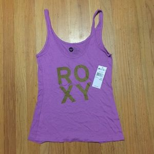 Roxy Purple Gold Glitter Tank Top NWT Small